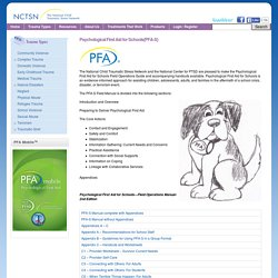 Psychological First Aid for Schools(PFA-S)