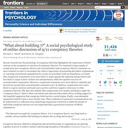 """What about building 7?"" A social psychological study of online discussion of 9/11 conspiracy theories"