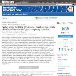 """What about building 7?"" A social psychological study of online discussion of 9/11 conspiracy theories 