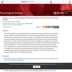 Screens, Teens, and Psychological Well-Being: Evidence From Three Time-Use-Diary Studies - Amy Orben, Andrew K. Przybylski, 2019