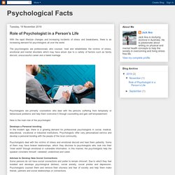 Role of Psychologist in a Person's Life