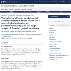 The buffering effect of tangible social support on financial stress: influence on psychological well-being and psychosomatic symptoms in a large sample of the adult general population