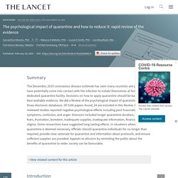 The psychological impact of quarantine and how to reduce it: rapid review of the evidence - The Lancet