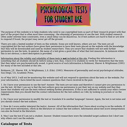 Psychological Tests for Student Use