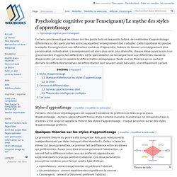 Psychologie cognitive pour l'enseignant/Le mythe des styles d'apprentissage — Wikilivres
