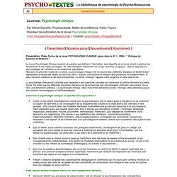 Revue Psychologie clinique (France)