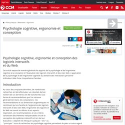 Psychologie cognitive, ergonomie et conception