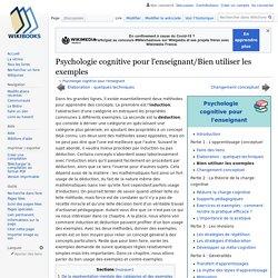 Psychologie cognitive pour l'enseignant/Bien utiliser les exemples