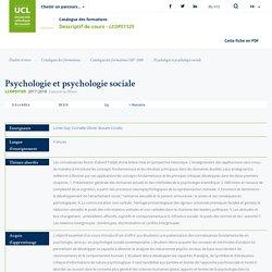 Psychologie et psychologie sociale