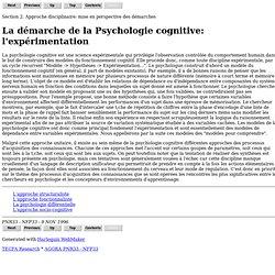 La démarche de la Psychologie cognitive: l'expérimentation