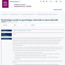 Psychologie sociale et psychologie culturelle et interculturelle