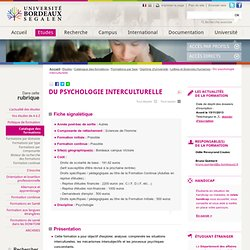 DU psychologie interculturelle