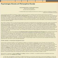 Psychologie Morale et Philosophie Morale - Florian Cova - Page personnelle