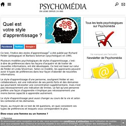 Test psychologique : Indice des styles d'apprentissage