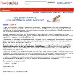 Test psychologique: Questionnaire Alzheimer