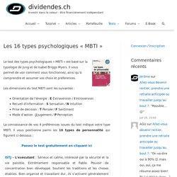 """Les 16 types psychologiques """"MBTI"""""""
