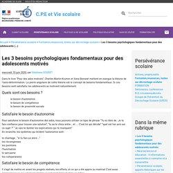 Les 3 besoins psychologiques fondamentaux pour des adolescents (...) - C.P.E et Vie scolaire