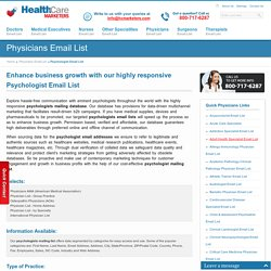 Psychologist Email List : Mailing Addresses Database