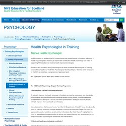 Health Psychologist in Training - Training Programmes - Training Psychologists - Psychology - By discipline - Education and training - NES