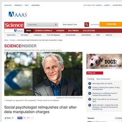 Social psychologist relinquishes chair after data manipulation charges