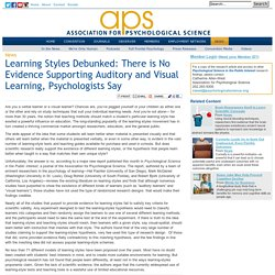 Learning Styles Debunked: There is No Evidence Supporting Auditory and Visual Learning, Psychologists Say