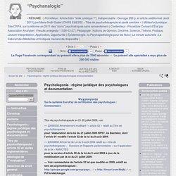 """18. Psychologonia : régime juridique des psychologues et documentation - """"Psychanalogie"""""""