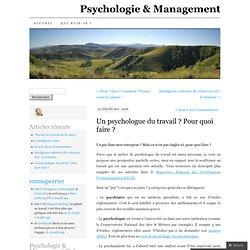 PSYCHOLOGUE du TRAVAIL ? Pour quoi faire ? Psychologie & Management (PERRIER)