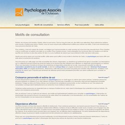 Psychologues Associés de l'Outaouais > Problématiques