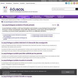 Les psychologues scolaires à l'école primaire - Les psychologues scolaires à l'école primaire