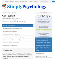A-level Psychology Aggression Revision for PSYA3