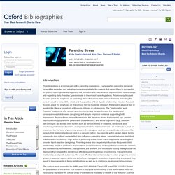 Parenting Stress - Psychology - Oxford Bibliographies