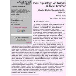 Kimball Young: Social Psychology: Chapter 23: Fashion as Collective Behavior