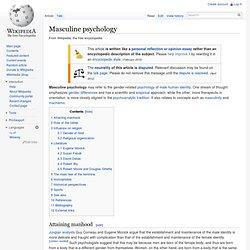 Masculine psychology
