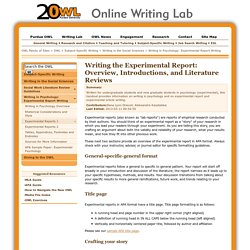 Writing in Psychology: Experimental Report Writing