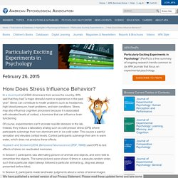 How Does Stress Influence Behavior? - Psychology Experiments
