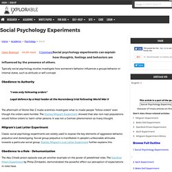 Social Psychology Experiments - Explaining Human Nature.