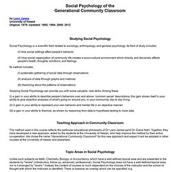 Social Psychology of the Generational Community Classroom at Hawaii