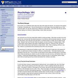 Psychology of Groups in Psychology 101 at AllPsych Online