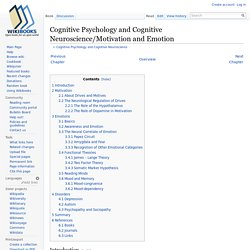 Cognitive Psychology and Cognitive Neuroscience/Motivation and Emotion