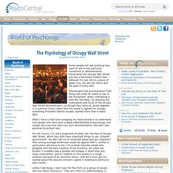 The Psychology of Occupy Wall Street