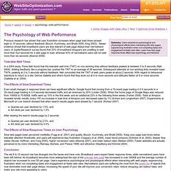 The Psychology of Web Performance - how slow response times affect user psychology