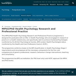 University of Southampton - MPhil/PhD Health Psychology Research and Professional Practice