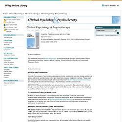 Clinical Psychology & Psychotherapy - Author Guidelines