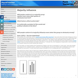asch psychology experiment an analysis of opinions and social pressure Why are some people more likely to give into social pressure and others are not  english psychologists, rod bond and peter smith found that people from  different cultures  opinions and social pressure  culture and conformity: a  meta-analysis of studies using asch's (1952b, 1956) line judgment task.