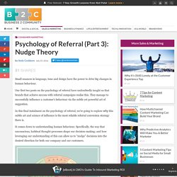 Psychology of Referral (Part 3): Nudge Theory