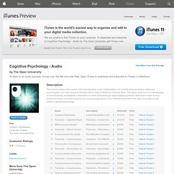 Cognitive Psychology - Audio - Download free content from The Open University on iTunes