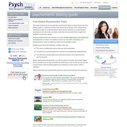 Psychometric Testing Guide > Free Online Psychometric Tests