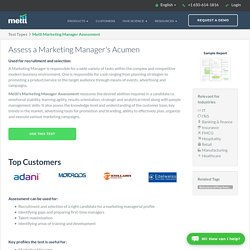 Online Marketing Manager Psychometric Assessment for Hiring, L&D and Recruitment -Mettl