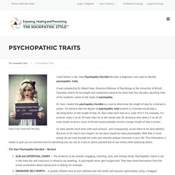 Psychopathic Traits – The Sociopathic Style