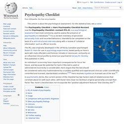 Psychopathy Checklist